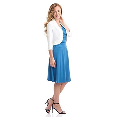Femme Cardigan Veste Manteaux Bringbring de Vtements Bolros Demi Manche Travail Blazer Blanc TwqnxzCd