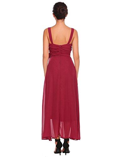 Acevog V Cou Manches Cocktail Maxi En Mousseline De Soie Plissée Robe De Vin Rouge Des Femmes