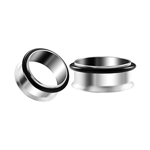 BIG GAUGES Pair of 316L Surgical Steel 1 7/6 inch 28mm Single Flared Piercing Ear O-Ring Flesh Tunnel Earring Lobe Stretcher Plug BG4703 ()