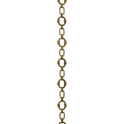 RCH Hardware CH-05-AB-3 Decorative Antique Solid Brass Chain for Hanging, Lighting-Large Round Unwelded Links with X Design (3 ft/1 Yard)