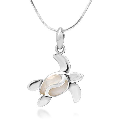 925 Sterling Silver White Mother of Pearl Shell Dangling Sea Turtle Pendant Necklace, 18 inches