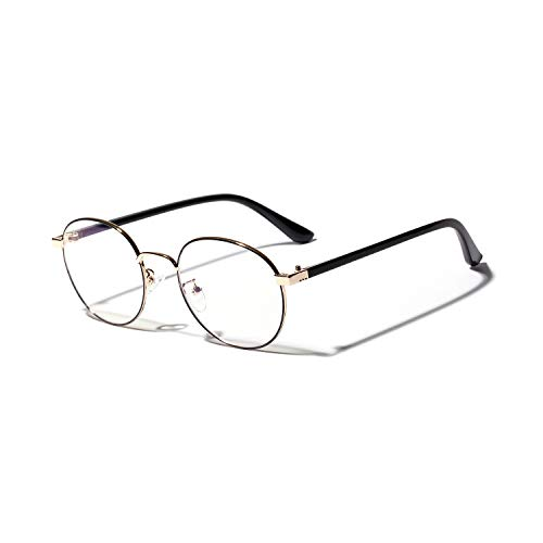 Classic Round Metal Clear Lens Glasses Women Vintage Cat Eye Mod Style Retro eyewear (black&gold, 53) -