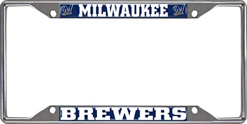 Milwaukee Brewers EZ View Design Chrome Frame Metal License Plate Tag Cover
