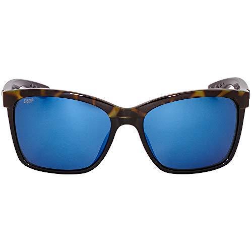 Costa Del Mar Anaa Sunglasses Shiny Olive Tort on Black/Blue Mirror 580Plastic (Womens Costa Del Mar)