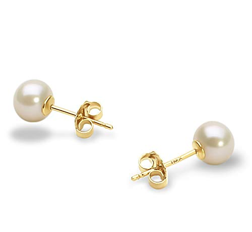 7-8mm AAA Quality Freshwater 14K Yellow Gold Cultured Pearl Earring Pair For Women