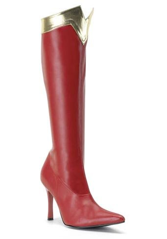[Funtasma by Pleaser Women's Wonder-130 Knee-High Boot,Red/Gold Str. Pu,8 M US] (The Red Shoes Halloween Costume)