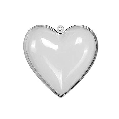 Coaste 5PSC Fillable Ornament Ball, Transparent Plastic Acrylic Heart-Shaped fillable Ball Christmas Tree DIY Jewelry,Home/Wedding/Party/Tree/Craft