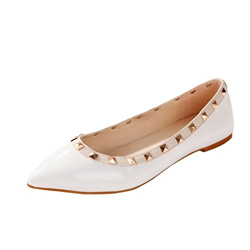 Minetom Women Lady Girl Fashion Rivet Enamel Leather Flat Pointed Pumps Shoes White O06wSJ