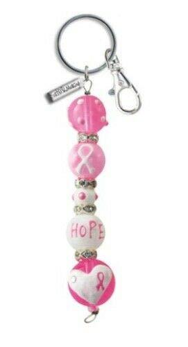 (Think Pink Breast Cancer Rhinestone Glass Beaded Kate and Macy Keychain)