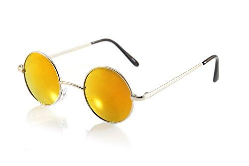 FBL Vintage John Lennon Round Sunglasses Mirrored/ Smoke Lens (z.Silver/ Red RV, - John Elton Glasses Red