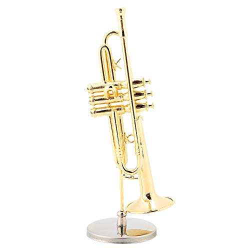 Ginyia Instrument Ornaments, Miniature Trumpet Replica with Stand and Case Musical Model Gold Plated Instrument Model…