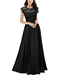 Miusol Women's Floral Lace Sleeveless Vintage Wedding Maxi Dress