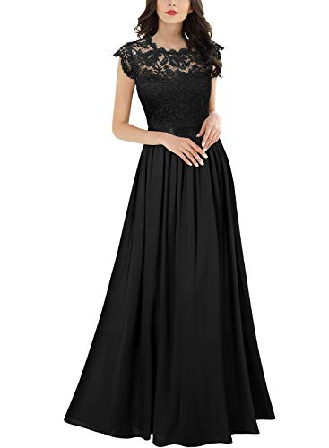 Miusol Women's Formal Floral Lace Evening Party Maxi Dress (X-Large, Black)