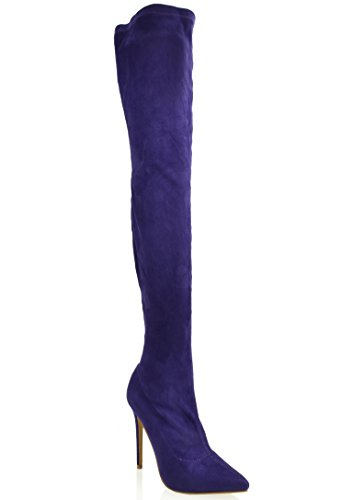 Shoe Republic Thigh High Pointy Toe Stilleto Boots Austere (Purple 10)