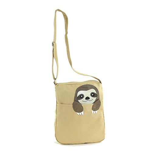 Sleepyville Critters Peeking Sloth Canvas Messenger Bag