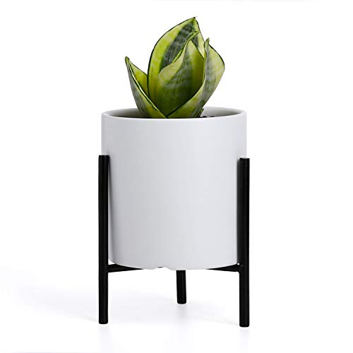 Greenaholics Succulent Plant Pots - 4.3 Inch White Ceramic Planter for Small Plants with Black Iron Stand, Drainage Hole, Removable Silicone Plug