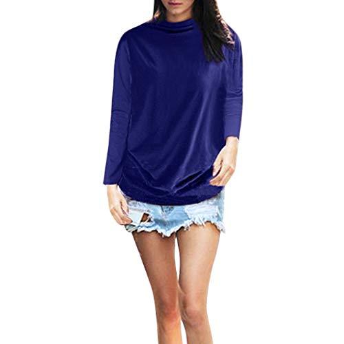 New in Fashion Respctful✿Women Shirts Turtleneck Long Sleeve Cotton Blouse T Shirt Casual Loose Tunic Tops Blue