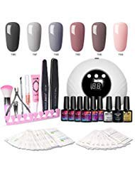 Modelones Gel Nail Polish Kit with UV Light - New Winter Series with 6 Colors Gel Matte Top Coat, Base Top Coat, 24W Nail Lamp, Upgraded Manicure Tools -
