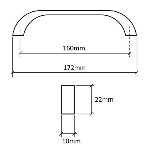160 mm Aerzetix C41372-6 Maniglie per cassetto Armadio Colore: Argento Opaco Armadio