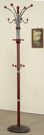 Asia Direct Six Foot Wood and Chrome Coat Rack Cherry Finish
