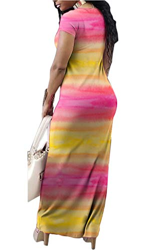 Dresses Sleeve amp; Women's Dye Long Pink Maxi Gludear Tie Dresses Casual Yellow Short Striped B0Sq4