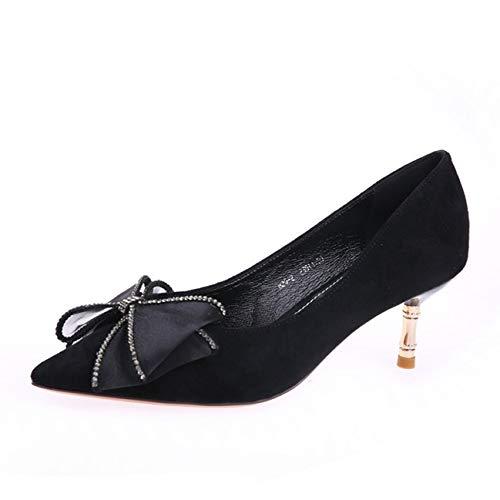 HOESCZS Elegante Elegante Elegante Damenschuhe 2019 Herbst Neue Spitze Maschengarn Bogen Stilett hochhackigen flachen Mund einzelne Schuhe 6 cm 9e1021