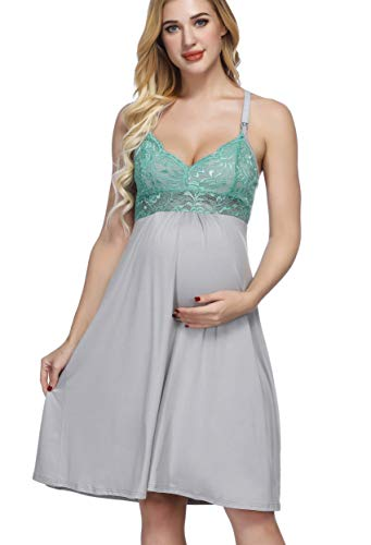 Maternity Dress Spaghetti Strap Cotton Nursing Sleepwear with Adjustable Strap M ()