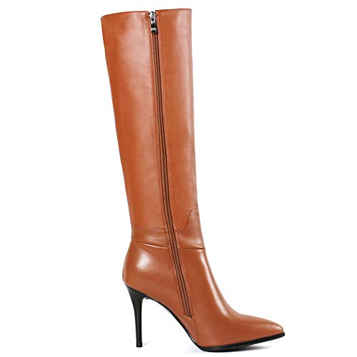 d5d1da571c4 VOCOSI Women's Leather Over The Knee Boots Pointy Toe Side-Zip High ...