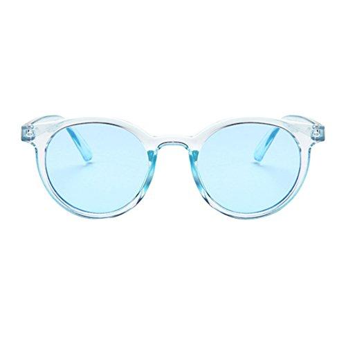 Redondas de Mujer Sunglasses Unisex Eyewear Retro LINNUO Azul Gafas Sol Colores Hombres 6q7xwHI