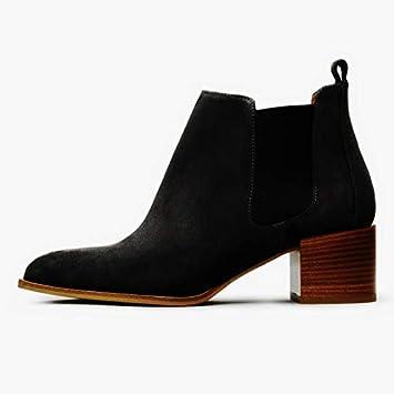 Shukun Botines Botas de PU Zapatos de Invierno Botines para Mujer Primavera y otoño de Mujer