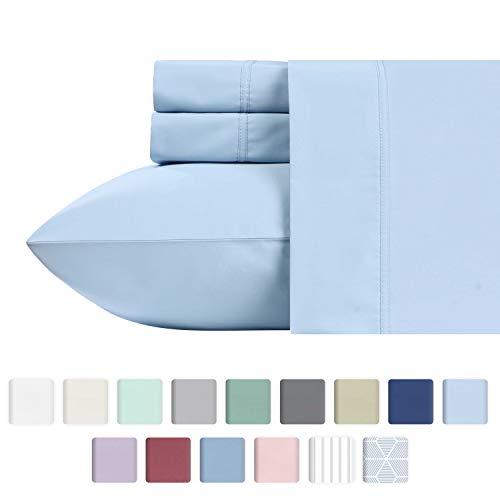 California Design Den 600 Thread Count Best Bed Sheets 100% Cotton Sheets Set - Long-Staple Cotton Sheet for Bed 4 Piece Set with Deep Pocket (Blue, Full Sheet Set)
