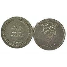 Israel Coin 25 Pruta Collectible 1950 Rare Vintage Old Hebrew Money