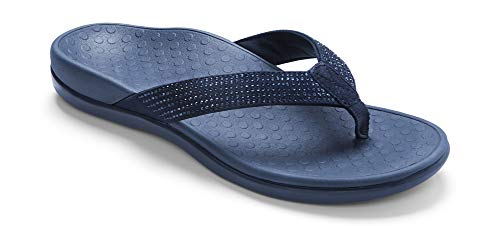 Vionic Women's Tide Rhinestones Toe-Post Sandal - Ladies Flip-Flop with Concealed Orthotic Arch Support Navy 5 M US