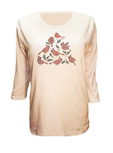 Christmas Cardinal Bird Rhinestone Bling 3/4 Sleeve Shirt (3X)