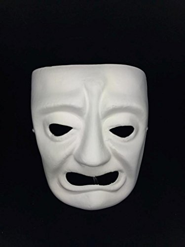 Mens Masquerade Mask, White Tragedy Comedy Unpainted Blank Mask for Costume Party DIY (Comedia De Costumes)