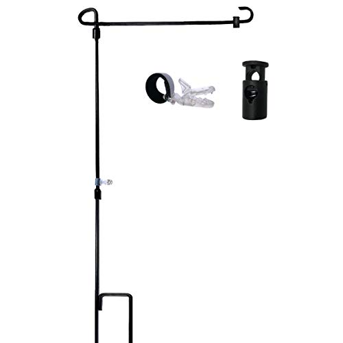 W&X Garden Flag Stand-Holder-Pole with Garden Flag Stopper a