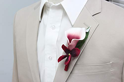 Angel Isabella, LLC Boutonniere- Picasso Burgundy Keepsake Real Touch Calla Lily pin Included ()