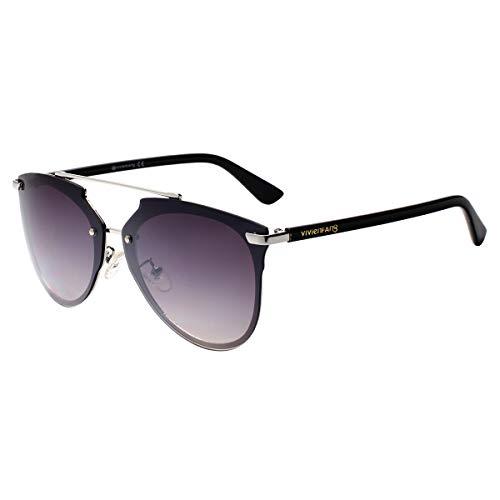 - VIVIENFANG Mirrored Rimless Sunglasses Double Bridge Pantos Shape Aviator Shades 87049A Silver