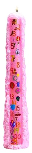 Biedermann & Sons Baby Shower Birthday 1 to 21 Pillar Candle, Pink, 15-Inches Tall