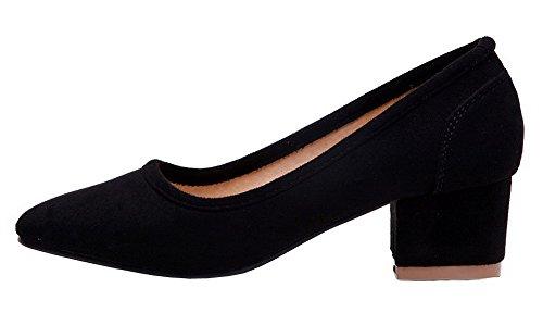Amoonyfashion Damesschoenen Vierkante-teen Kitten-hakken Geïmiteerd Suède Pull-on Pumps-schoenen Zwart