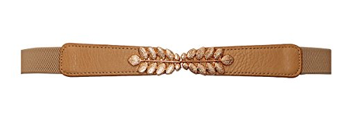 Interlocking Buckle (eVogues Plus size Leaf Interlocking Buckle Elastic Belt Beige - One Size)