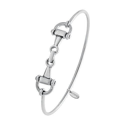 SENFAI Horse Snaffle Bit Hook Clasp Charm Bracelet Bangle Jewelry (Antique Plated Bracelet, Rhodium-Plated-Base-Metal)