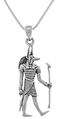 Jewelry Trends Anubis Egyptian God of The Underworld Sterling Silver Pendant on 18 Inch Chain Necklace -
