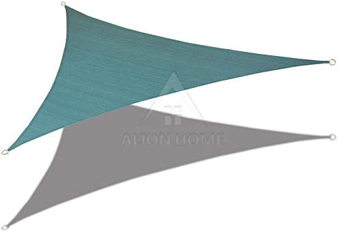 ALION HOME 10 x 10 x 10 Triangle Waterproof Woven Sun Shade Sail in Vibrant Colors Forest Green
