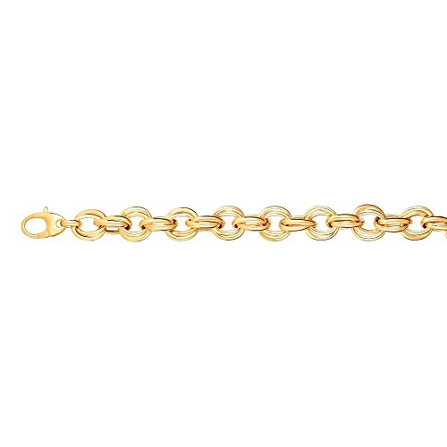 14kt 8'' Yellow Gold 11.8mm Shiny Alternate Oval+Round Double Link Fancy Bracelet with Lobster Clasp by BH 5 Star