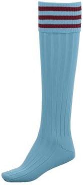 Precision Training Pro Mens Size Maroon Sky Blue Hooped Football Socks
