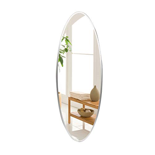 Wall-Mounted Mirrors Wall-mounted mirror oval frameless full-length mirror Bedroom decorative mirror entrance mirror mirror floor mirror (Color : Silver, Size : 4090cm(15.735.4 inches)) (Length Wall Full Oval Mirror)