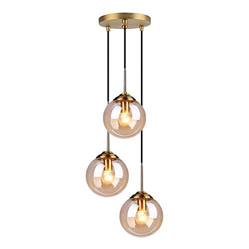 LFsem Industrial Retro 3 Luces Lampara techo de Bola de Vidrio Lámpara colgante Accesorios de latón Lamparas de techo…