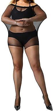 MANZI Women's 2 Pairs Plus Size Tights Control Top Ultra-Soft Panty
