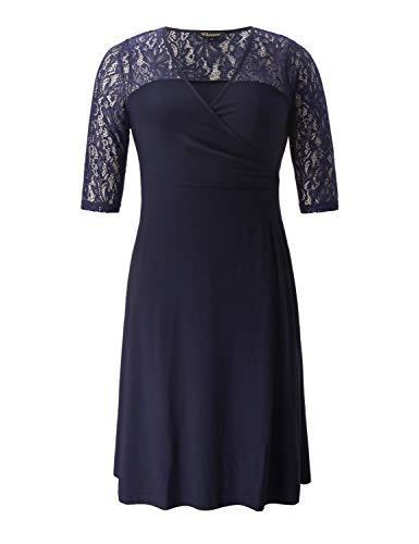 Chicwe Mujeres Tallas Grandes Vestido Elástico Encaje Decorativo Reunión en Cintura - Casual Fiesta Cóctel Vestido con Longitud a la Rodilla Azul Marino Oscuro